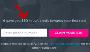 Lyft $30 Credit