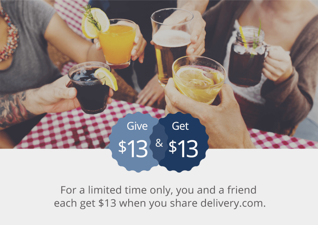 $13 Off Delivery.com + $13 Credit when you refer a friend
