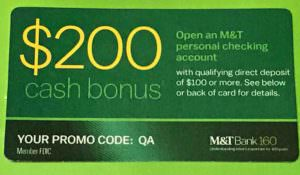 m&t bank $200 cash bonus